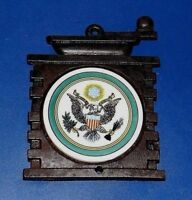 Vintage Cast Iron Trivet With Ceramic Great Seal of United States Eagle Insert
