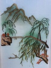 Vintage original Asia Chinese su-embroidery silk Handmade Suzhou China framed