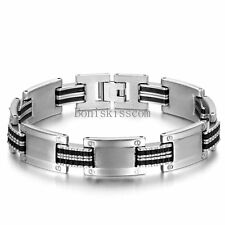 Silver Stainless Steel Chain Black Silicone Link Bracelet Wristband for Men