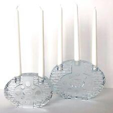 2 Mid-Century ART GLASS Crystal CANDLE HOLDERS Candelabra, Scandinavian VTG MCM