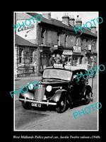 OLD HISTORIC PHOTO OF BRITISH WEST MIDLANDS POLICE PATROL CAR c1940s AUSTIN