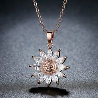 Chic Women Sun Flower Zircon Pendant Necklace Clavicle Chain Lady Jewelry Gifts
