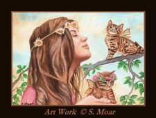 Fairy World Tabby Bengal Kitten Cat Woman Girl ACEO Limited Edition Art Print
