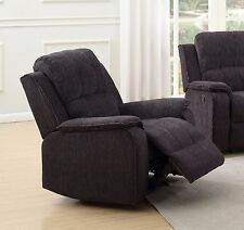 Black Grey High Grade Fabric Material Manual Reclining Armchair DORSET