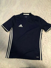Boys Adidas Shirt Size L Blue With White Stripes Short Sleeve F/S