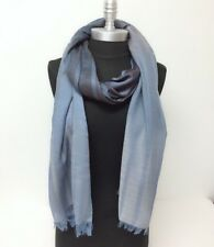 New Men's Ombre Stripes sheer panel Long Scarf Soft Shawl Wrap Pashmina Blue