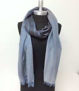 New Men's Ombre Stripes sheer panel Long Scarf Soft Shawl Wrap Pashmina Blue