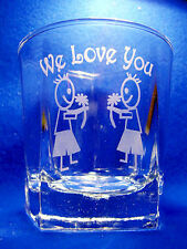 Five Sided Glass - We Love You & 2 Little Boys with flowers Sand Etched on it.