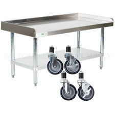 """24"""" x 48"""" Heavy Equipment Stand w/ Casters Stainless Steel Work Table Commercial"""