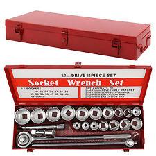 "21pc Socket Set 3/4"" Drive Metric Tool Bit Set Ratchet 19-50mm Metal Case New"