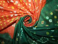 Pure Silk Vintage Orange Sari Bandhani Printed Women Dress Bollywood Saree Craft