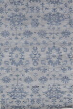 Thick Plush Transitional Floral BLUE Moroccan Oriental Hand-Knotted Wool Rug 5x8