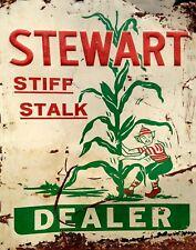 "TIN SIGN ""Stewart Dealer Corn"" Farm Art Deco Garage Wall Decor"