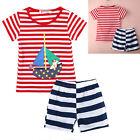 2pcs Toddler Kids Baby Boy T-shirt Tops+Short Pants Stripe Outfits Clothing Set
