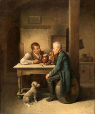 Charming Oil painting portraits two men drinking wine after dinner & little dog