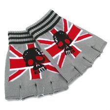 NEW GRAY RED UK FLAG & SKULL PUNK ROCK GOTH FINGERLESS CUTOFF GLOVES BT-1005-UK