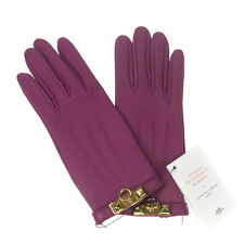 AUTHENTIC HERMES LOGOS GLOVES MEDOR LEATHER PURPLE MADE FRANCE EXCELLENT TY00043