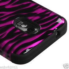 Samsung Galaxy S2 4G Sprint Boost T Armor Hybrid Hard Case Skin Cover Pink Zebra