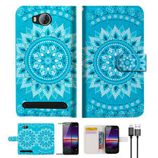 BLUE AZTEC TRIBAL Wallet TPU Case Cover For HUAWEI Y3 II 2 -- A001
