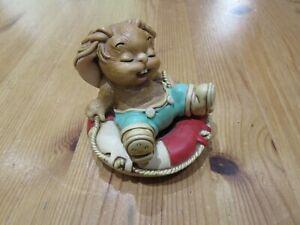 "Vintage Pendelfin ""Drifter"" Bunny Rabbit Figurine/ Ornament, blue - green shorts"