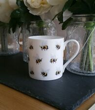 Bone China Mug Bumble Bee Pattern Hand Decorated in Wales Gift