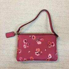 COACH Pink Poppy Floral Wristlet clutch. Coin purse