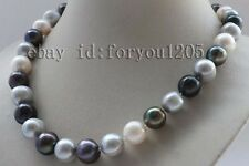 "18"" Genuine Natural 11-14mm Multicolor Round Pearl Necklace 14k #f2291!"