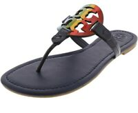 NWB Tory Burch Miller Sandal Printed Patent Leather Size 8 Navy Bright Rainbow