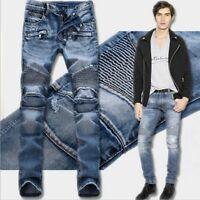 Brand New Men's Fashion Straight Biker Jeans Pants Skinny Denim Ripped Trousers