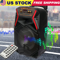 "8"" Portable FM Bluetooth Party Karaoke Speaker Subwoofer Heavy Bass Sound System"