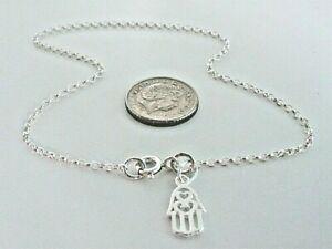 "Anklet Ankle Bracelet Solid 925 Sterling Silver Chain Hamsa Hand Charm 9"" - 12"""