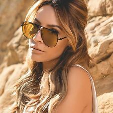 "NEW QUAY AUSTRALIA X DESI PERKINS Black/Yellow ""SAHARA"" Aviator Sunglasses -SALE"