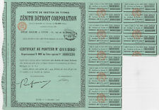 Zenith Detroit Corporation > 1926 French issue U.S. car parts stock certificate