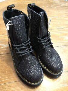Dr. Martens Jadon Chunky Glitter Platform Boots Womens Size 10 Black New AirWair