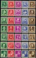 US Scott # 859-893, 1940 FAMOUS AMERICANS SERIES, Complete set of 35, MNH OG