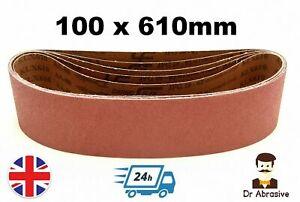 100 x 610mm Sanding Belts DURABLE 4'' x 24'' fits Makita Bosch Belt Grits 40-600