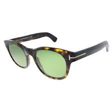 New Tom Ford Fisher TF 531 52N Dark Havana Plastic Square Sunglasses Green Lens