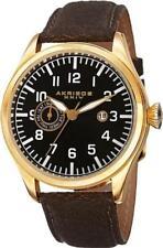 Akribos XXIV Men's Ak785yg Swiss Quartz Movement Watch With Black Dial and Brown