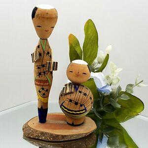 """Vintage Japanese KOKESHI NODDER Head Dolls Tall Short Wooden Japan 4.5"""""""