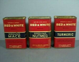 Three Vintage Red And White Brand Spice Tins, Buffalo, NY. And Chicago