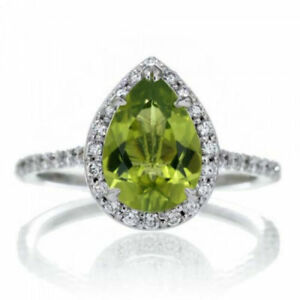 0.96CT NATURAL DIAMOND 14K SOLID WHITE GOLD PERIDOT CLUSTER RING SIZE 7 TO 9