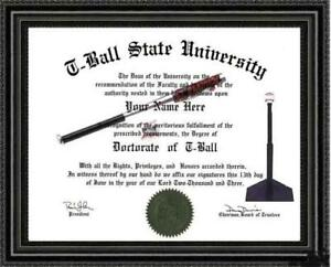 T-Ball Lover's Doctorate Diploma / Degree Custom made & Designed for You UNIQUE