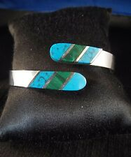Taxco Silver Turquoise & Malachite Hinged Clamper Cuff/Bracelet