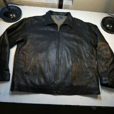 RALPH LAUREN POLO LEATHER ZIP UP JACKET Sz Mens XL Black w Brown Pony