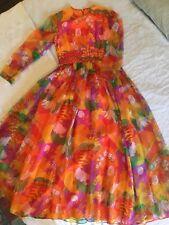 Vintage Psychedelic Orange Purple DRESS Long 1960S Hippie MOD Bright Beatles