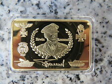 24k gold plated German Erwin Rommel nazi bar in plastic holder WW2 BU