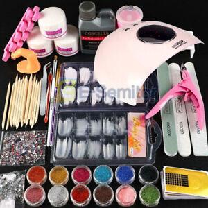 UK Sale -Pro UV Gel Nail Polish Kit Starter Manicure Set LED Dryer Nail Base Top
