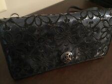 BRIGHTON VALENCIA Organizer Floral Embroidery Metallic Navy Blue Leather