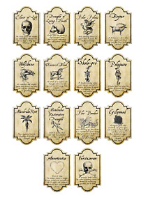 14 x Harry inspired potion labels