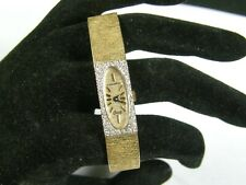 Vintage Ladies Longines Solid 14K Yellow Gold Genuine Diamond Bezel Luxury Watch